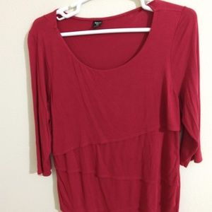 Paisley Sky red 3/4 sleeve tiered shirt - size 1X